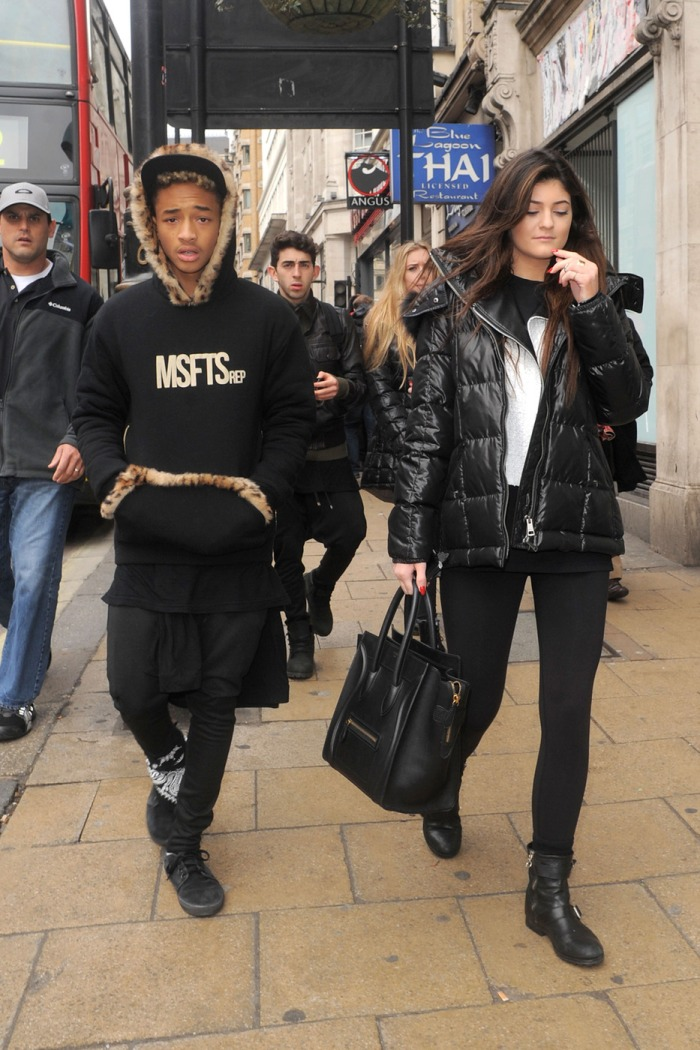 91932, LONDON, UNITED KINGDOM - Sunday March 3, 2013. Kylie Jenner and Jaden Smith stroll down the street after lunching at Cafe Nero in London together. Photograph: © Palace Lee, PacificCoastNews.com **FEE MUST BE AGREED PRIOR TO USAGE** **E-TABLET/IPAD & MOBILE PHONE APP PUBLISHING REQUIRES ADDITIONAL FEES** LOS ANGELES OFFICE: +1 310 822 0419 LONDON OFFICE: +44 20 8090 4079