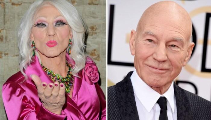 patrick stewart x men professor xaviar drag queen lgbt gay blunt talk